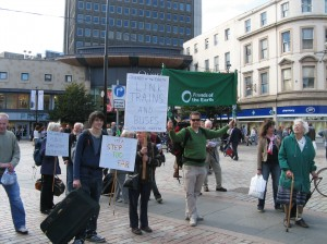 Public transport demo in Dundee city centre, September 2010